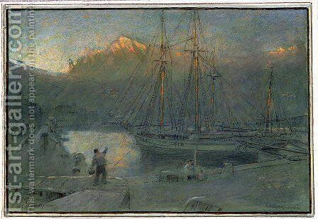 The port of Solla Majorca by Albert Goodwin - Reproduction Oil Painting