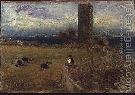 The Shepherd Boy Sidestrand Norfolk by Albert Goodwin - Reproduction Oil Painting
