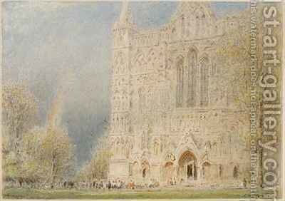 Salisbury Cathedral by Albert Goodwin - Reproduction Oil Painting