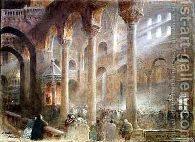 St Marks Basilica Venice from the floor of the Nave by Albert Goodwin - Reproduction Oil Painting