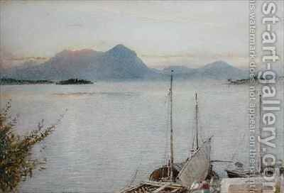 Sunrise from Baveno Lago Maggiore by Albert Goodwin - Reproduction Oil Painting