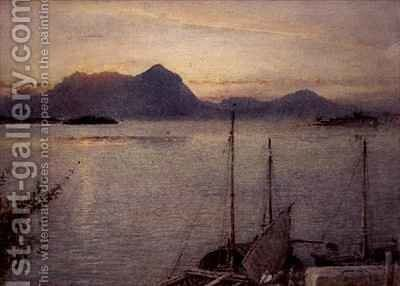 Sunrise from Baveno Lake Maggiore by Albert Goodwin - Reproduction Oil Painting