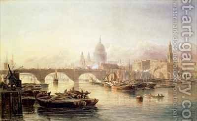 St Pauls Cathedral and London Bridge by Edward Angelo Goodall - Reproduction Oil Painting