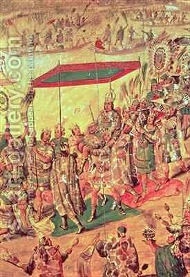 The Welcoming of Montezuma 1466-1520 by Miguel Gonzalez - Reproduction Oil Painting