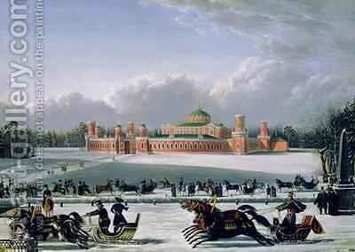 Sleigh Race at the Petrovsky Park in Moscow by Golitsyn - Reproduction Oil Painting