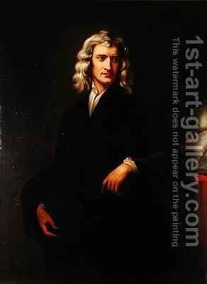 Portrait of Sir Isaac Newton 1642-1727 after an original painting by Sir Godfrey Kneller 1646-1723 by Goldschmit - Reproduction Oil Painting