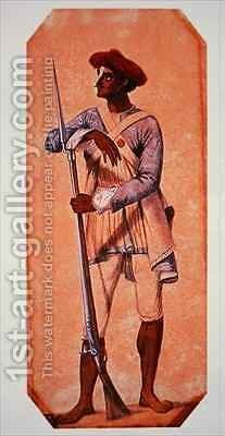 Soldier of Tipu Sultan Sultan of Mysore armed with a flintlock musket by (after) Gold, Charles Emilius - Reproduction Oil Painting