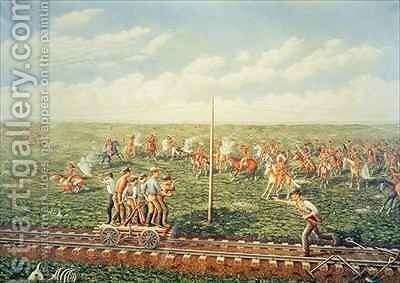Cheyenne Indians attack workers on the Union Pacific Railroad near Fossil Creek in Kansas by (after) Gogolin, Jacob - Reproduction Oil Painting