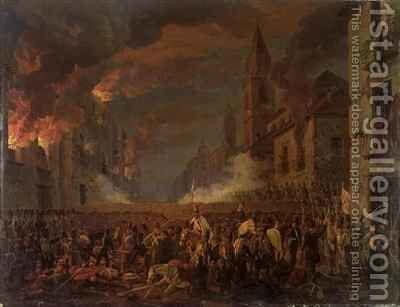 The Capture of Catania by the 4th Bern Regiment in the Night of 5th 6th April by Carl Wilhelm Goetzloff - Reproduction Oil Painting