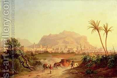 View of Palermo by Carl Wilhelm Goetzloff - Reproduction Oil Painting