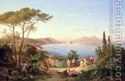 Bay of Naples with Dancing Italians by Carl Wilhelm Goetzloff - Reproduction Oil Painting