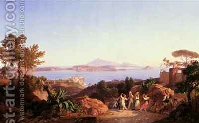 View of the Gulf of Pozzuoli with Mount Solfatara by Carl Wilhelm Goetzloff - Reproduction Oil Painting