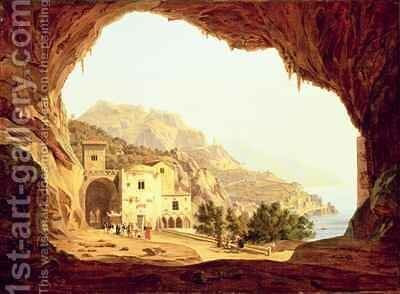 View from a Grotto over the Amalfi Coast by Carl Wilhelm Goetzloff - Reproduction Oil Painting