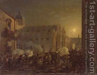 The Burning of Catania after the Towns Conquest by the Bern Regiment in 1849 by Carl Wilhelm Goetzloff - Reproduction Oil Painting