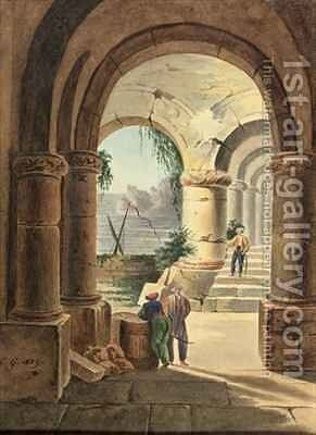 View of the Sea through a Cloister by Carl Wilhelm Goetzloff - Reproduction Oil Painting