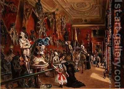 The second Armoury Room in the Ambraser Gallery of the Lower Belvedere by Carl Goebel - Reproduction Oil Painting