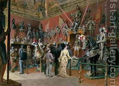 The first Armoury Room of the Ambraser Gallery in the Lower Belvedere by Carl Goebel - Reproduction Oil Painting