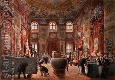 The Marble Room with Egyptian Greek and Roman Antiquities of the Ambraser Gallery in the Lower Belvedere by Carl Goebel - Reproduction Oil Painting