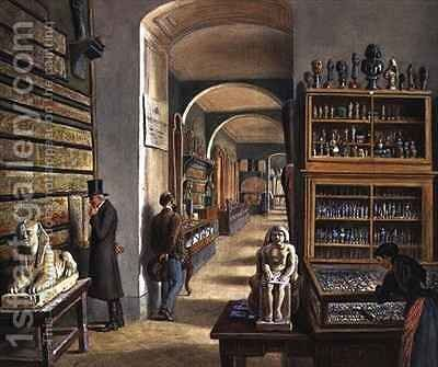The second room of Egyptian antiquities in the Ambraser Gallery of the Lower Belvedere by Carl Goebel - Reproduction Oil Painting