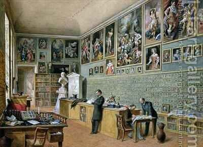 The Library in use as an office of the Ambraser Gallery in the Lower Belvedere by Carl Goebel - Reproduction Oil Painting