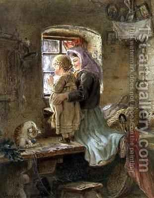 Interior Peasant girl and child by C. Goebel - Reproduction Oil Painting