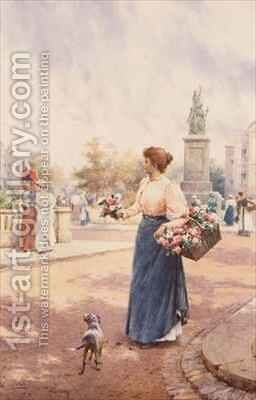 A Parisian flower seller by Arthur Augustus II Glendening - Reproduction Oil Painting