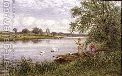 Ladies in a Punt by Arthur Augustus II Glendening - Reproduction Oil Painting