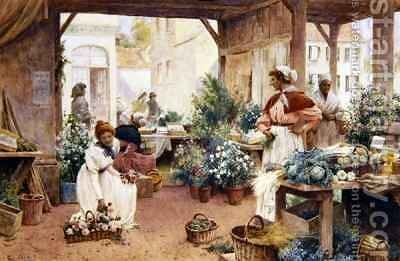 Early Morning Market by Alfred I Glendening - Reproduction Oil Painting