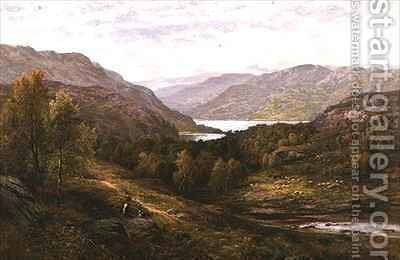 A Shepherd Boy with his Dog in a Highland Landscape by Alfred I Glendening - Reproduction Oil Painting