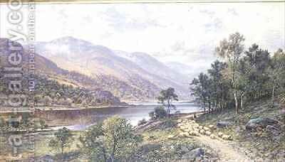 Thirlmere Shepherd with Sheep by a Lake by Alfred I Glendening - Reproduction Oil Painting