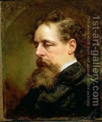 Portrait of Charles Dickens 1812-70 by Alexander Glasgow - Reproduction Oil Painting