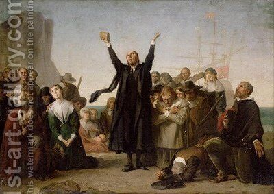 The Arrival of the Pilgrim Fathers by Antonio Gisbert - Reproduction Oil Painting