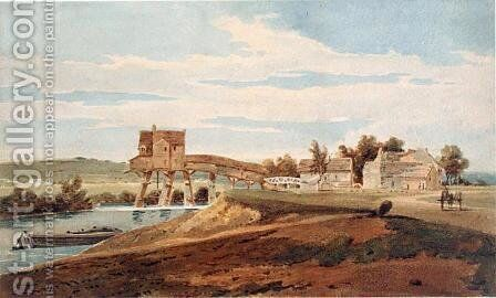 The Watermill above the Bridge at Charenton by (after) Girtin, Thomas - Reproduction Oil Painting