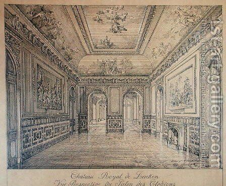 The Salon des Clodions at the Royal Palace of Laeken by Charles Louis Girault - Reproduction Oil Painting