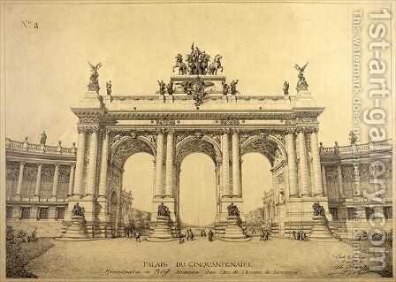 The Triumphal Arch of the Palais du Cinquantenaire Brussels by Charles Louis Girault - Reproduction Oil Painting