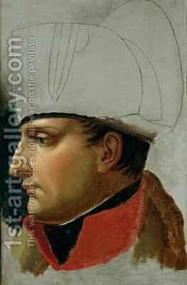 Unfinished Portrait of Napoleon I 1769-1821 formerly attributed to Jacques Louis David 1748-1825 by Anne-Louis Girodet de Roucy-Triosson - Reproduction Oil Painting