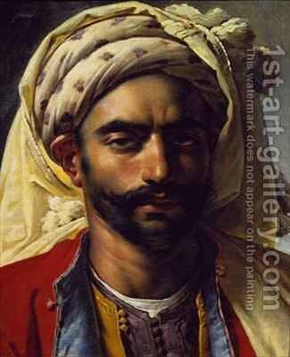 Portrait of Mustapha by Anne-Louis Girodet de Roucy-Triosson - Reproduction Oil Painting