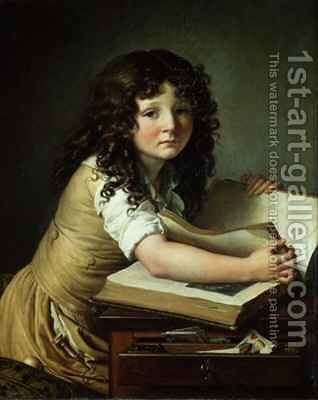 A child looking at pictures in a book by Anne-Louis Girodet de Roucy-Triosson - Reproduction Oil Painting