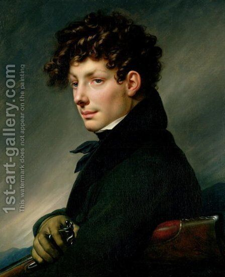 Portrait of a Young Man as a Hunter by Anne-Louis Girodet de Roucy-Triosson - Reproduction Oil Painting