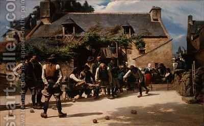 The Game of Boules at Pont Aven by Charles Giraud - Reproduction Oil Painting