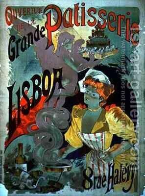 Poster advertising the Opening of the Grande Patisserie Lisboa in Paris by Emile Georges Giran - Reproduction Oil Painting