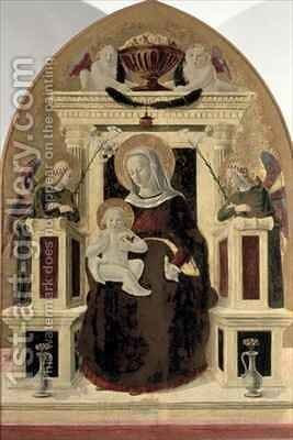 Madonna and Child Enthroned with Angels by Girolamo Giovanni - Reproduction Oil Painting