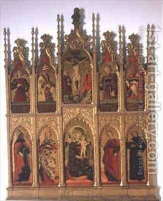 Polyptych of Gualdo Tadino with Virgin Enthroned Crucifixion and Saints by Girolamo Giovanni - Reproduction Oil Painting