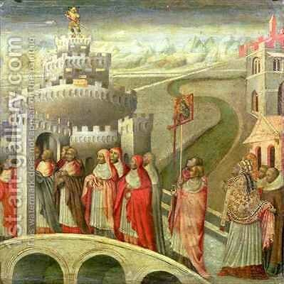 Procession of St Gregory to the Castel St Angelo by Paolo di Grazia Giovanni di - Reproduction Oil Painting