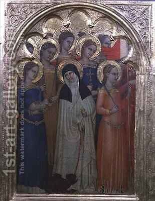 Predella panel of St Lucy with saints by Milano Giovanni da - Reproduction Oil Painting