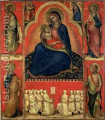 Madonna dellUmilta with saints and members of the Scuola di San Giovanni Evangelista by Bologna Giovanni da - Reproduction Oil Painting