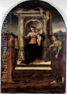 Madonna Enthroned with St Barbara and St Lucia by Stefano Giordano - Reproduction Oil Painting