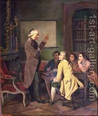 A Lesson with Abbe Charles Michel de lEpee 1712-89 by N. Ginouvier - Reproduction Oil Painting