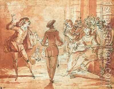 Theatrical Scene by Claude Gillot - Reproduction Oil Painting
