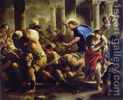 Christ Driving the Merchants from the Temple by Luca Giordano - Reproduction Oil Painting